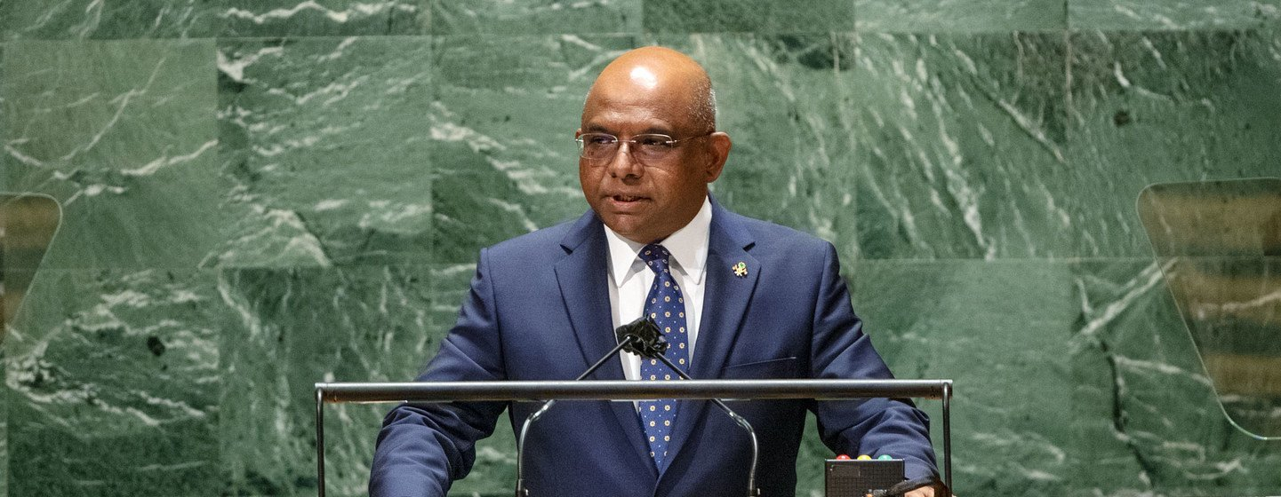 UN General Assembly President Abdulla Shahid addresses the closing of general debate of the UN General Assembly's 76th session.