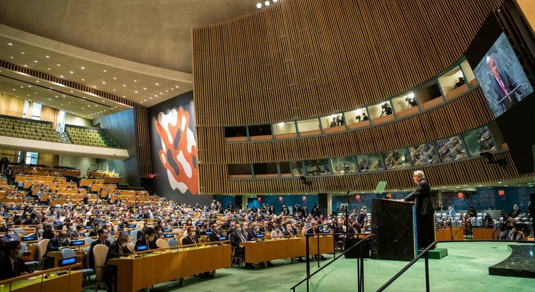 UN Secretary-General António Guterres (at podium) addresses the opening of the general debate of the 76th session of the General Assembly.