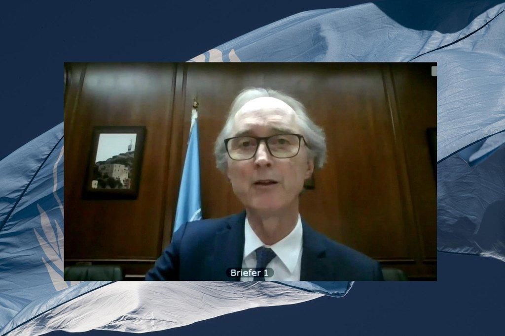 غير بيدرسون، المبعوث الخاص للأمم المتحدة إلى سوريا، أثناء إحاطته لمجلس الأمن حول الوضع في سوريا، من خلال دائرة تلفزيونية مغلقة.