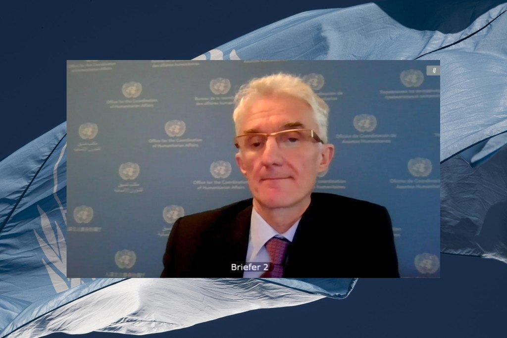 مارك لوكوك، وكيل الأمين العام للشؤون الإنسانية ومنسق الإغاثة في حالات الطوارئ،  أثناء إحاطته لمجلس الأمن حول الوضع في سوريا، من خلال دائرة تلفزيونية مغلقة.