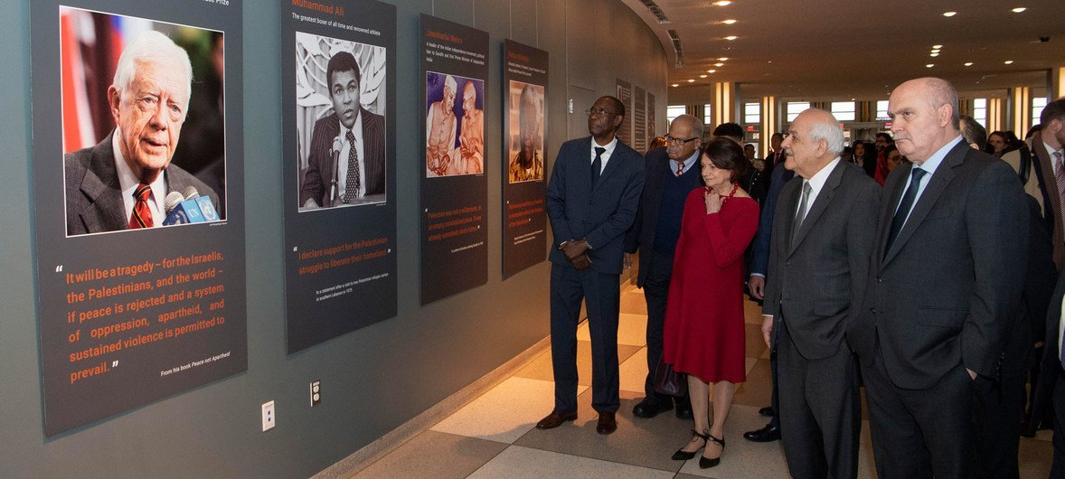 """A view of the opening of the exhibit """"Palestine: the most universal of national causes"""" at UN Headquarters. (L to R) are Ambassador Cheikh Niang of Senegal, USG Rosemary DiCarlo, Riyad H. Mansour, Permanent Observer of the State of Palestine and Ambassador Feridun Hadi Sinirlioğlu of Turkey."""