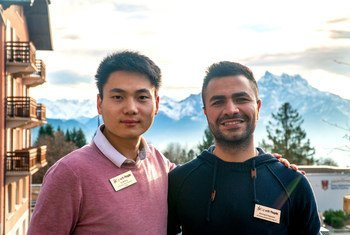 Ya Wang and Ahmed Hassan in the Swiss mountains on a break from rehearsals.