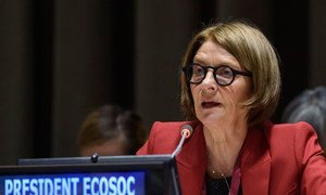 ECOSOC President Mona Juul briefs members of the Economic and Social Council.