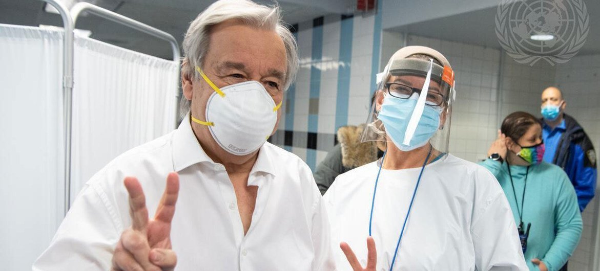 UN Secretary-General António Guterres gets vaccinated against COVID-19 at Adlai Stevenson High School in the Bronx, New York.