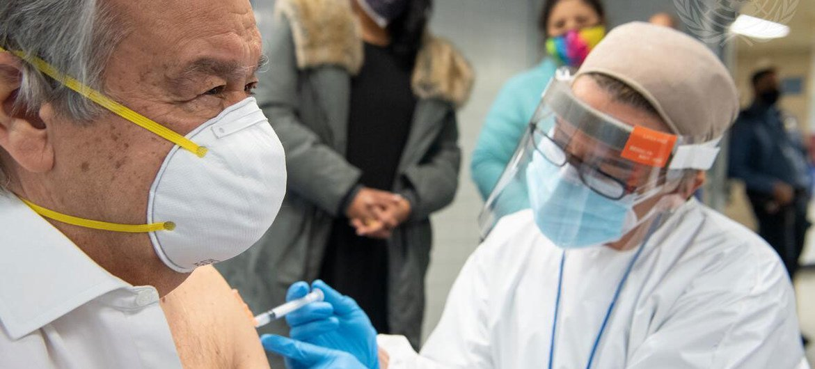 UN Secretary-General António Guterres receives his COVID-19 vaccination at a school in The Bronx, New York.