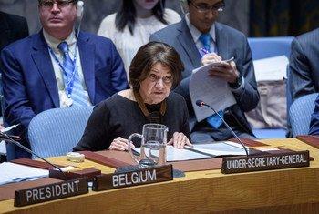 Rosemary DiCarlo, Secrétaire générale adjointe de l'ONU aux affaires politiques, informe les membres du Conseil de sécurité de l'ONU sur la situation en Syrie.