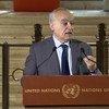 غسان سلامة، الممثل الخاص للأمين العام إلى ليبيا، ورئيس بعثة الأمم المتحدة للدعم في ليبيا، يتحدث إلى الصحفيين في مقر الأمم المتحدة بجنيف