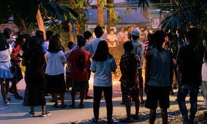 People holding a vigil in Yangon, Myanmar (file photo).