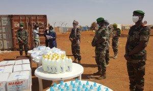 MINUSMA personnel distribute COVID-19 prevention kits in Gao, Mali.