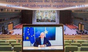 欧洲联盟外交与安全政策高级代表博雷利(Josep Borrell)就联合国与区域和次区域组织之间的合作向安理会发表讲话。