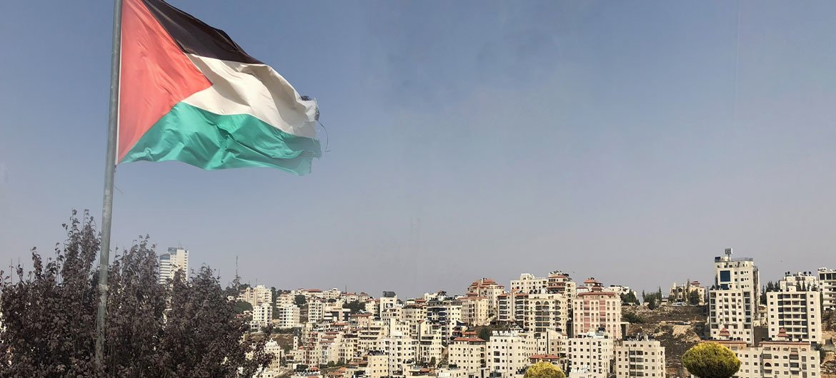 The Palestinian Flag in the West Bank city of Ramallah.