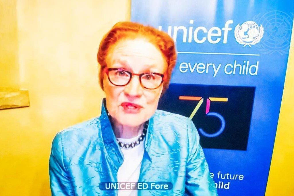 هنريتا فور  ، المديرة التنفيذية لمنظمة اليونيسف، تقدم إحاطة عبر الفيديو لأعضاء مجلس الأمن أثناء النقاش المفتوح فيما يتعلق حول