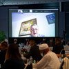 يان كوبيش، مبعوث الأمم المتحدة الخاص إلى ليبيا، يخاطب ملتقى الحوار السياسي الليبي المنعقد في سويسرا عبر تقنية الفيديو.