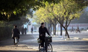 (FILE PHOTO) A cyclist in Wonsan City, in DPRK.