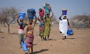 Des réfugiés maliens dans le camp de Goudoubo au Burkina Faso. Les mines représentent un danger supplémentaire pour les réfugiés et les personnes déplacées qui fuient la violence et la persécution et constituent une entrave à leur droit de rentrer chez eux.