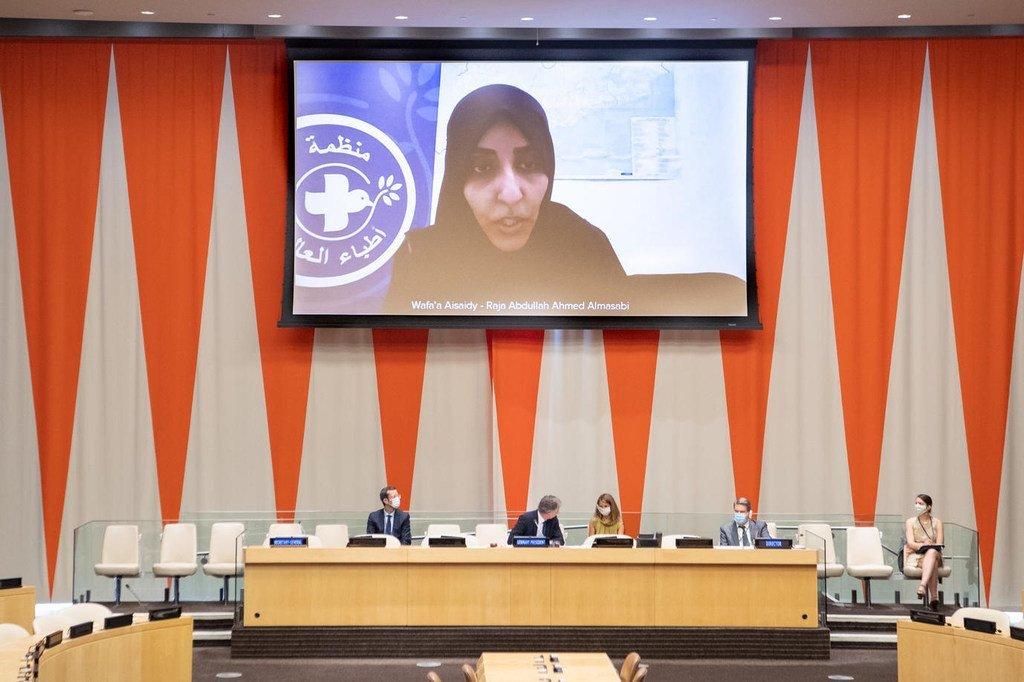 وفاء السعيدي، منسقة منظمة أطباء العالم في اليمن، تتحدث إلى مجلس الأمن.