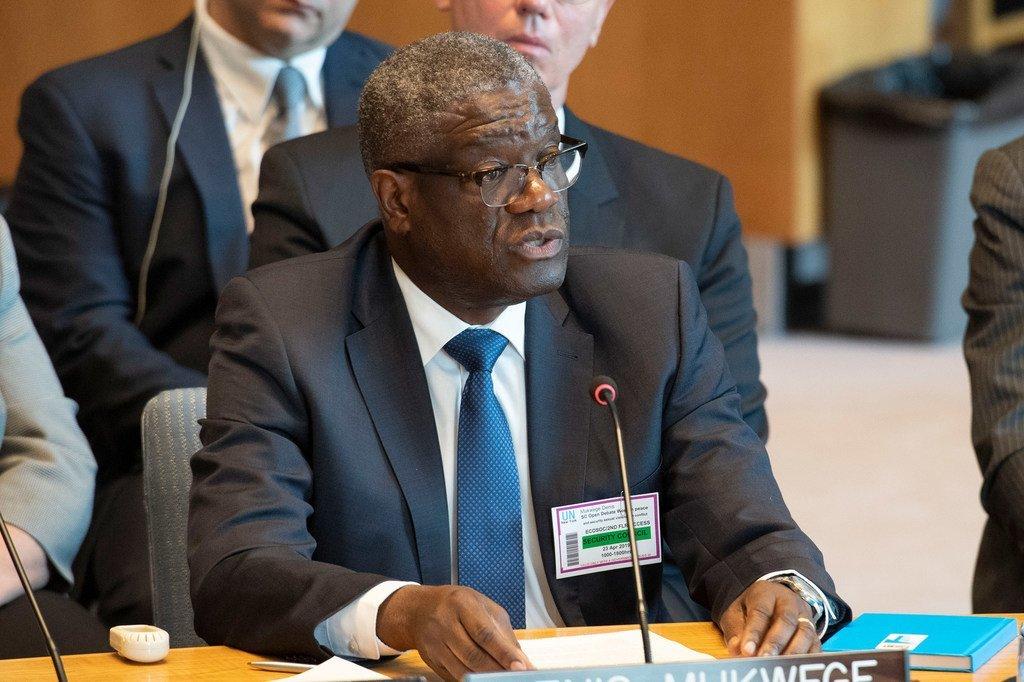 Le Dr Denis Mukwege s'adresse au Conseil de sécurité des Nations Unies sur les violences sexuelles dans les conflits, 23 avril 2019.