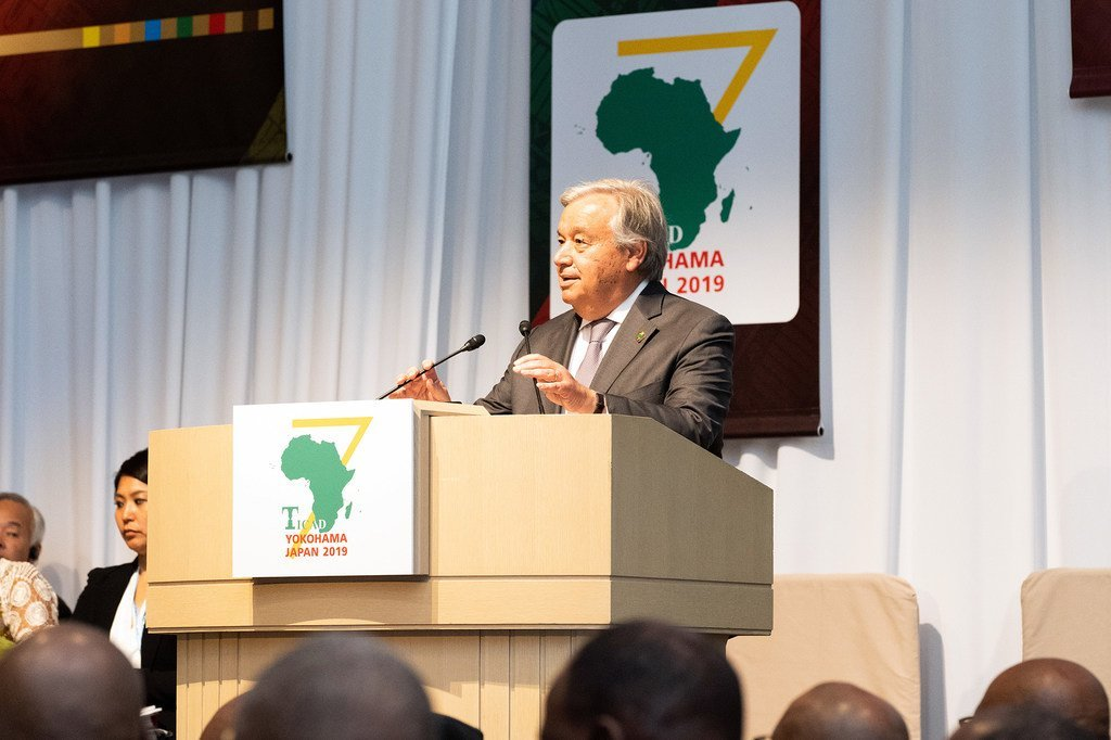 Le Secrétaire général de l'ONU, António Guterres, prend la parole lors de la 7ème Conférence internationale de Tokyo sur le développement de l'Afrique (TICAD), organisée à Yokohama, au Japon, le 28 août 2019.