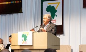 The UN Secretary-General António Guterres addresses the 7th Tokyo International Conference on African Development in Yokohama, Japan, on 28 August 2019.