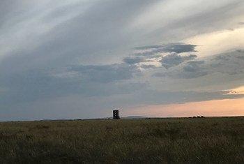 Vue du point zéro du site d'essai de Semipalatinsk à Kurchatov, au Kazakhstan. Semipalatinsk était autrefois le principal lieu d'essai d'armes nucléaires de l'Union soviétique.