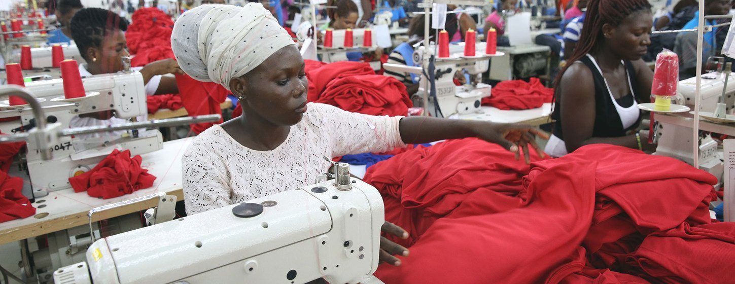 Factory workers in Accra, Ghana, producing shirts for international markets. (file)