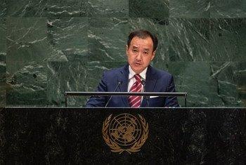 蒙古国外长朝格特巴特尔(Tsogtbaatar Damdin)在联大一般性辩论中发言。