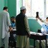 Des hommes votent dans un bureau de vote du lycée de filles Zarghoona à Kaboul, en Afghanistan,lors des présidentielles..
