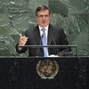 El secretario de Relaciones Exteriores de México, Marcelo Ebrard Casaubón, se dirige a la Asamblea General.