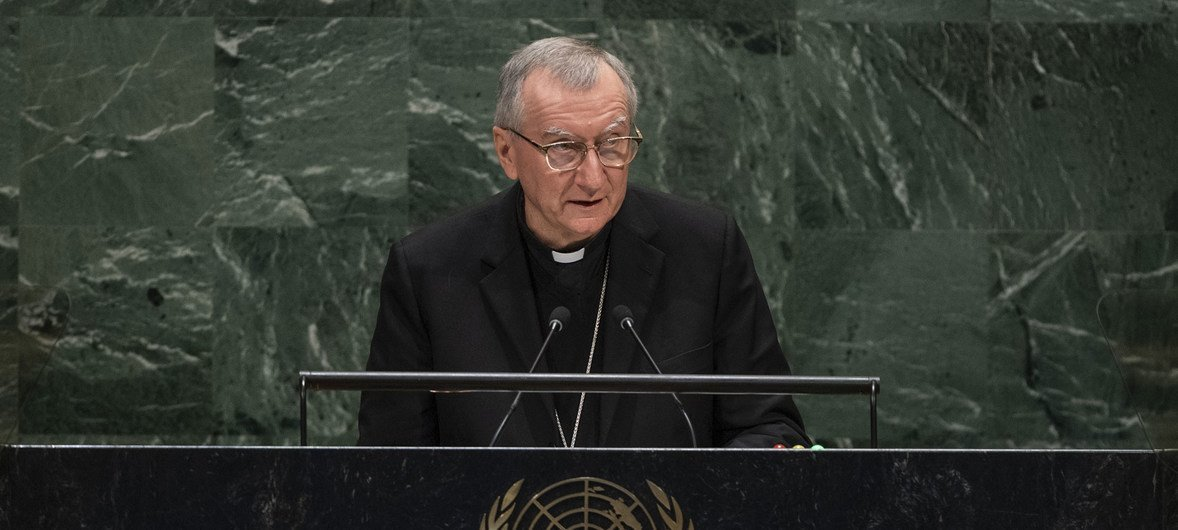 His Eminence, Cardinal Pietro Parolin, Secretary of State for the Holy See, addresses the general debate of the General Assembly's 74th session.