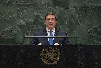 古巴共和国外交部长布鲁诺•罗德里格斯•帕里利亚在联合国大会第74届会议一般性辩论中发言。
