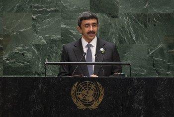 الشيخ عبد الله بن زايد آل نهيان وزير الخارجية والتعاون الدولي في الإمارات العربية المتحدة يخاطب مداولات الدورة الرابعة والسبعين للجمعية العامة للأمم المتحدة 28 سبتمبر 2019.