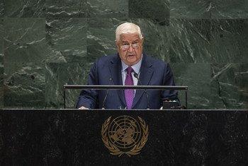 نائب رئيس مجلس الوزراء ووزير الخارجية السوري وليد المعلّم خلال مداولات دورة الجمعية العامّة الرابعة والسبعين، 28 سبتمبر 2019.