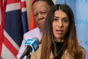 File photo from 2019 of Nadia Murad, Nobel Laureate and Goodwill Ambassador for the Dignity of Survivors of Human Trafficking of the United Nations Office on Drugs and Crime (UNODC).