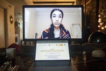Nadia Murad akihutubia kwa njia ya video, kuhusu mapambano dhidi ya ukatili wa kingono unaotumika kama silaha ya kivita.
