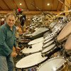 """American percussionist Mickey Hart performing """"King Clavé""""."""