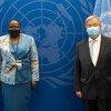 Ministra dos negócios estrangeiros de Moçambique, Verónica Macamo, em encontro com o secretário-geral, António Guterres