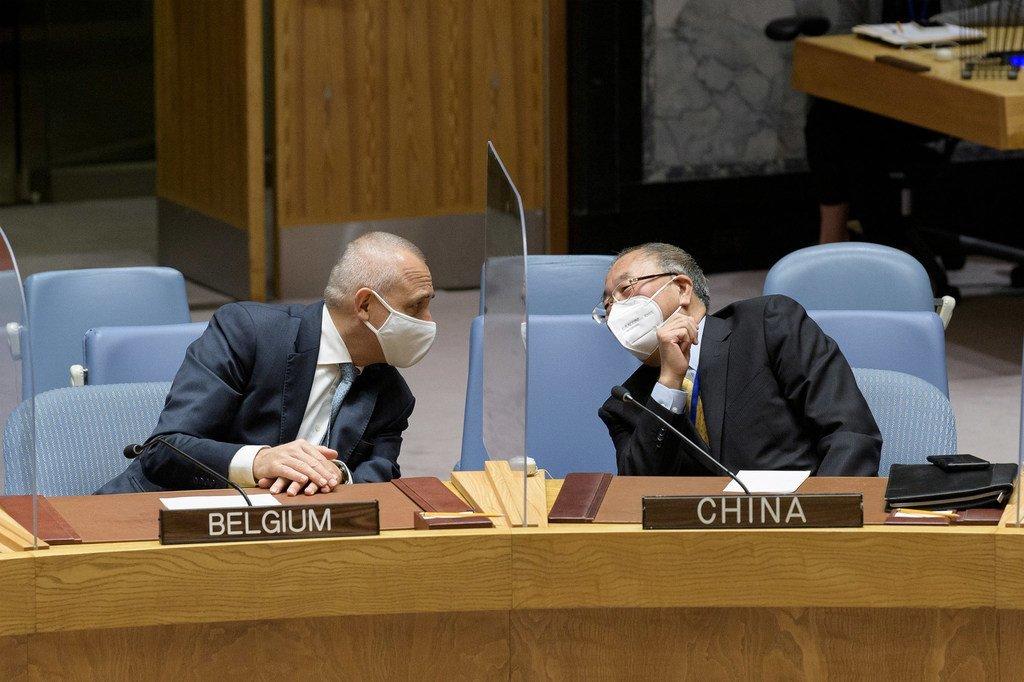 """中国常驻联合国代表张军(右)与比利时常驻联合国代表克里德尔卡在11月的一场安理会会议期间隔着透明""""防护屏""""交谈。"""