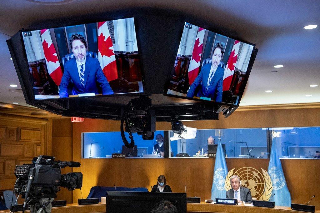 加拿大总理特鲁多通过视频方式参加2030年可持续发展目标筹资高级别会议。