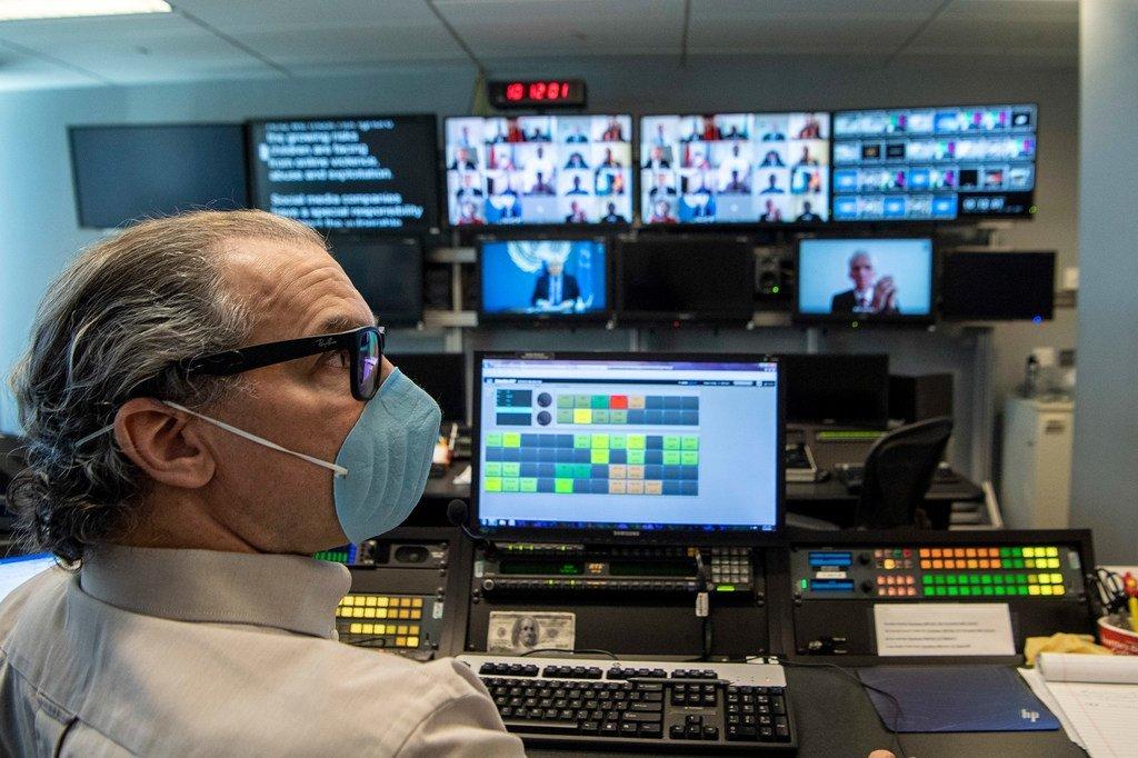 疫情期间的联合国电视工作室。