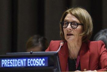 联合国经社理事会主席莫娜·尤尔就国际金融问责制、透明度和廉政问题向第74届联大主席穆罕默德-班德进行通报。