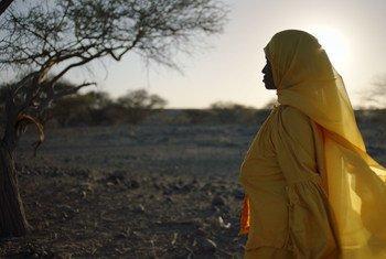 Abida Dawud, a survivor of female genital mutilation, walks in the Afar desert of northern Ethiopia.