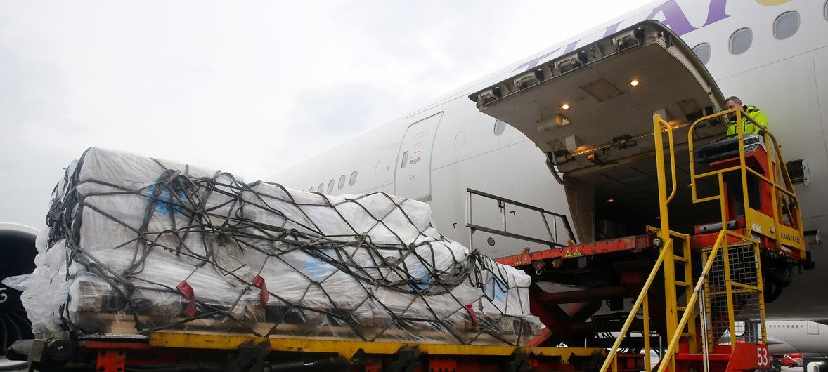 A plane leaving Copenhagen in Denmark bound for Shanghai is loaded with protective equipment against the coronavirus outbreak in China.