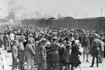 Jews from Subcarpathian Rus are subjected to a selection process on a ramp at Auschwitz-Birkenau, Poland.