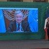 Discurso del Secretario General de las Naciones Unidas, António Guterres, durante la ceremonia de inauguración del Foro Generación Igualdad. El presidente de Mexico, Andrés López Obrador (dcha.), escucha sus palabras.