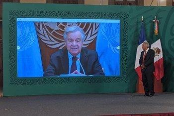 Guterres discursa em fórum sobre igualdade de direitos das mulheres.