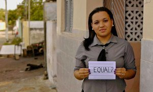 A woman in Brazil signals her desire for a more equal world.