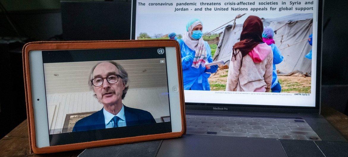 من الأرشيف: مبعوث الأمين العام الخاص إلى سوريا، غير بيدرسون يحيط مجلس الأمن خلال جلسة عبر الفيديو عن الوضع في سوريا