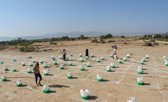 In Abyan, Yemen, families displaced by insecurity collect basic hygiene kits while practicing social distancing.