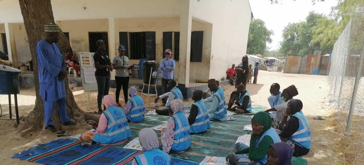 Covid-19 sensitization with WaSH committee at Bama GSSSS camp, 27 March 2020.
