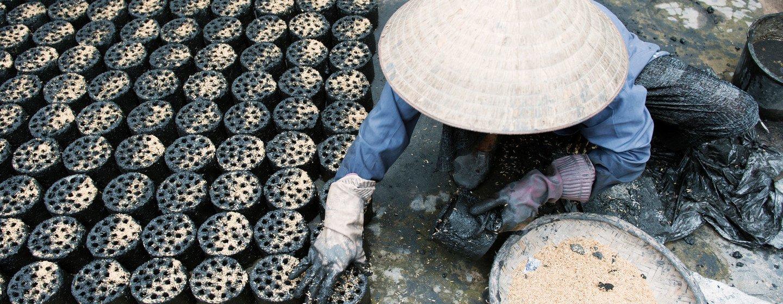 Una mujer vietnamita fabrica briquetas de biomasa respetuosas con el medio ambiente, un biocombustible usado para cocinar que sustituye al carbón y el combustible.